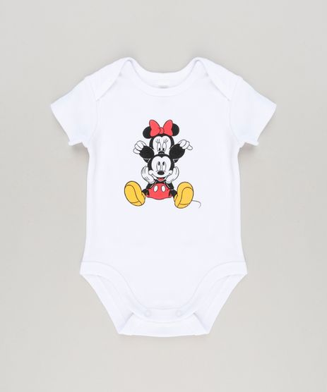 Body-Infantil-Minnie-e-Mickey-Manga-Curta-Decote-Redondo-em-Algodao---Sustentavel-Branco-8920315-Branco_1