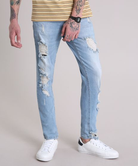 5d123a7abb Calca-Jeans-Masculina-Skinny-Destroyed-Azul-Claro-9166453-