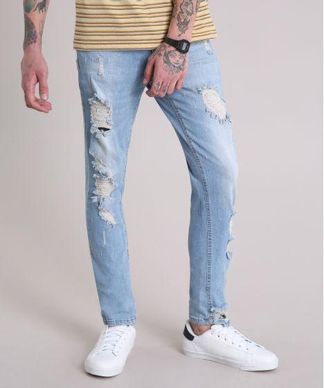 acaa8b4023784c Calça Jeans Masculina Skinny Destroyed Azul Claro - cea