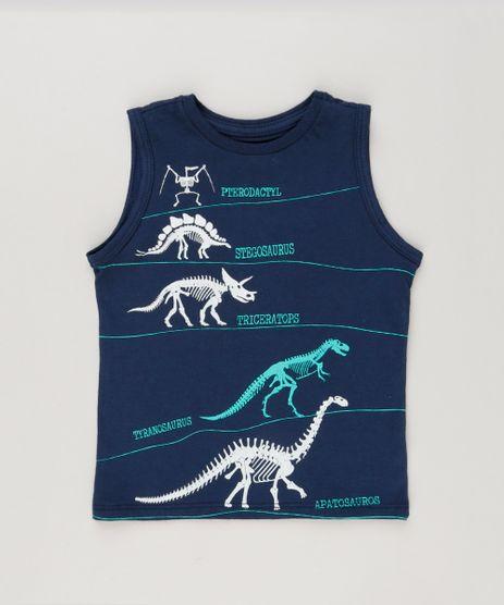 Regata-Infantil-Dinossauros-Gola-Careca-em-Algodao---Sustentavel-Azul-Marinho-9224675-Azul_Marinho_1