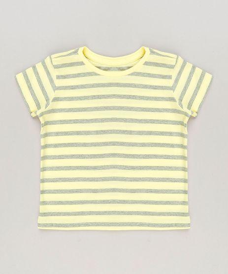 Camiseta-Infantil-Listrada-Manga-Curta-Gola-Careca-em-Algodao---Sustentavel-Amarela-9232223-Amarelo_1