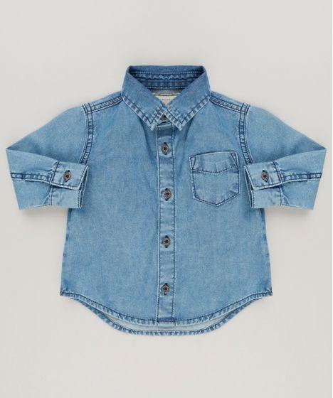 16f3f3d440a9d Camisa-Jeans-Infantil-Manga-Longa-Azul-Medio-9158802- ...
