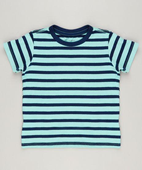 Camiseta-Infantil-Listrada-Manga-Curta-Gola-Careca-em-Algodao---Sustentavel-Verde-9232213-Verde_1