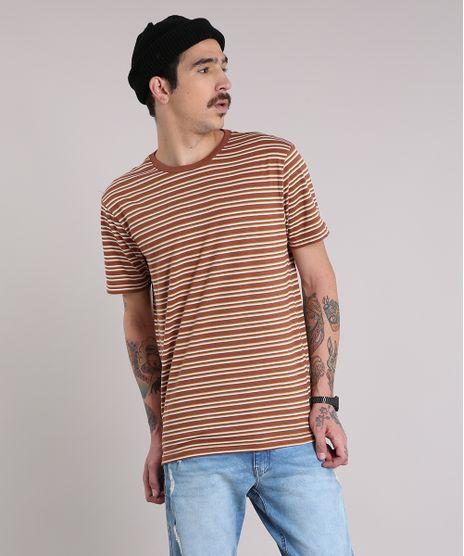 Camiseta-Masculina-Listrada-Manga-Curta-Gola-Careca-Marrom- 42614e836fe