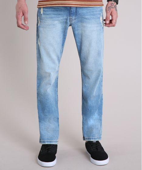 Calça Jeans Masculina Reta com Puídos Azul Claro - cea eb872f40ce1