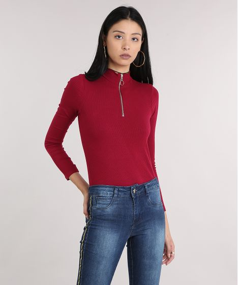 bcb53a1a5 Blusa feminina canelada com zíper gola alta e manga longa vinho cea jpg  468x560 Camisa feminina