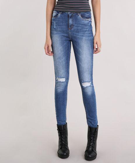 Calca-Jeans-Feminina-Super-Skinny-com-Rasgos-Cintura-Super-Alta-Azul-Escuro-9113400-Azul_Escuro_1