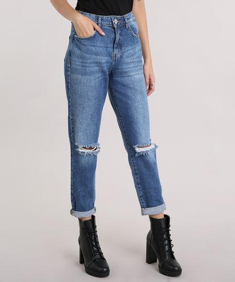 Calca-Jeans-Feminina-Mom-Pants-Com-Rasgos-Azul-Medio-9204360-Azul_Medio_1