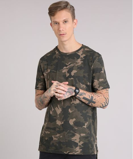 457f89ff1 Camiseta Masculina Longa Estampada Camuflada Manga Curta Gola Careca ...