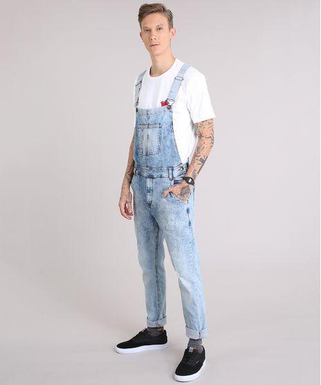 Macacao-Jeans-Masculino-Marmorizado-com-Botoes-Laterais-Azul-Claro-9190637-Azul_Claro_1