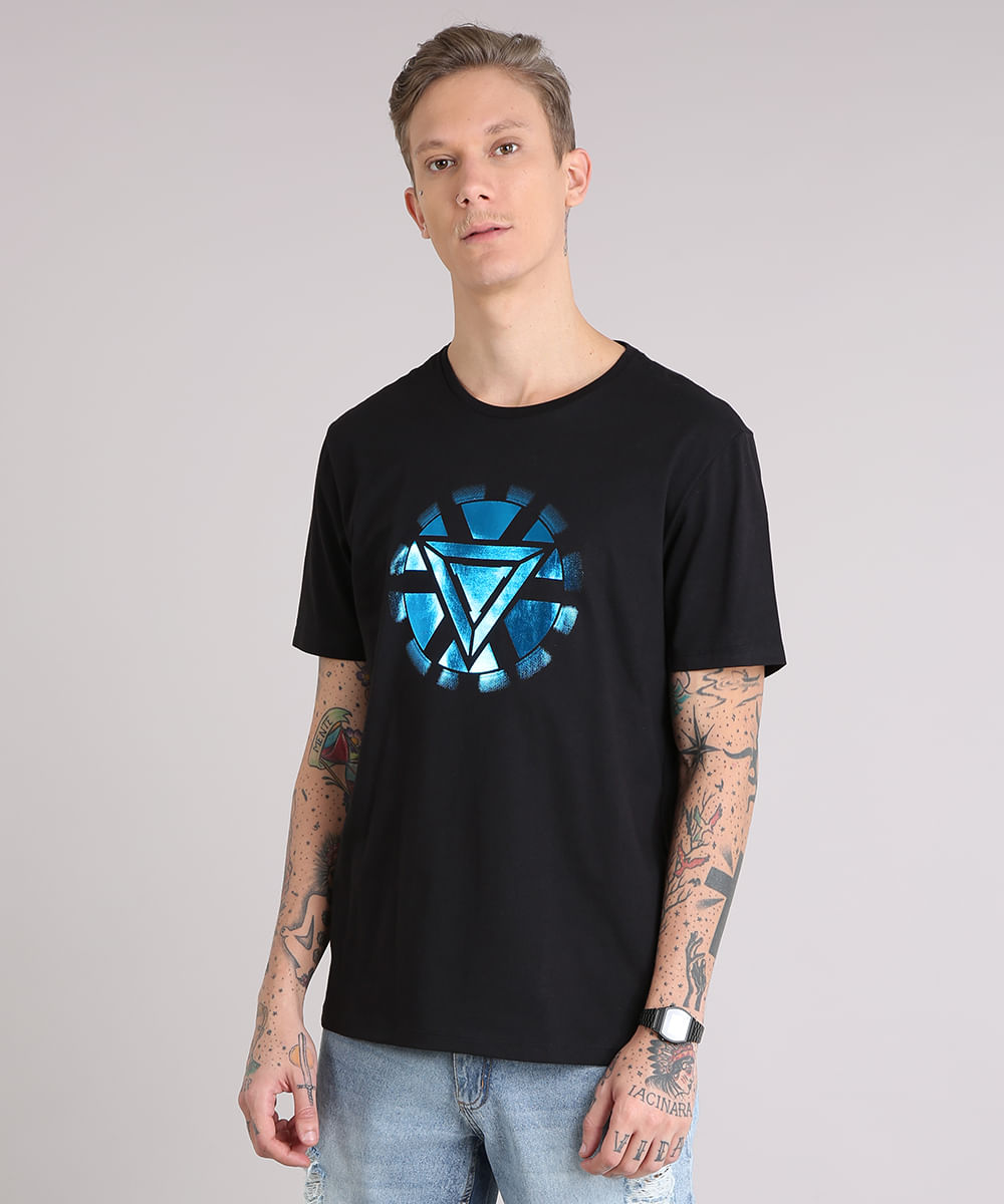 e2cd72b63a959 Camiseta Masculina Homem de Ferro Manga Curta Gola Careca Preta - cea