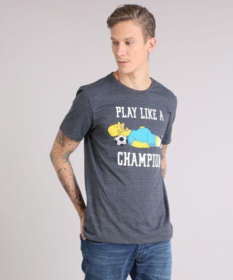 Camiseta-Masculina-Simpsons--Play-Like-a-Champion--Manga-Curta-Gola-Careca-Cinza-Mescla-Escuro-9150262-Cinza_Mescla_Escuro_1