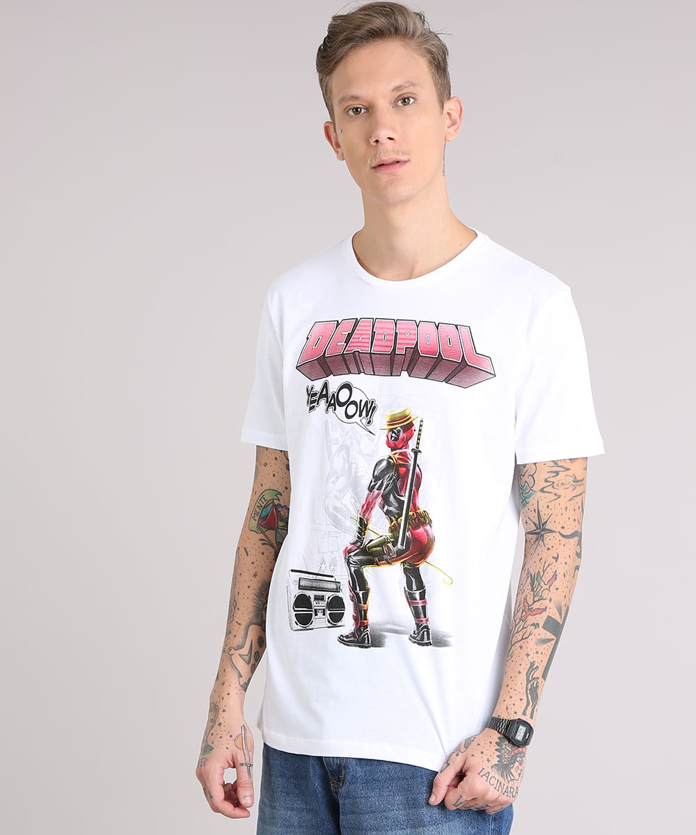 c44b81077 Camiseta Masculina Deadpool Manga Curta Gola Careca Branca ...