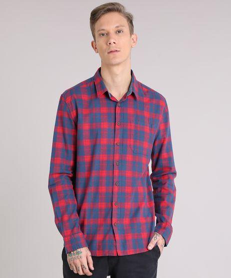 Camisa-Masculina-Xadrez-com-Bolso-Manga-Longa-Azul-8873898-Azul_1
