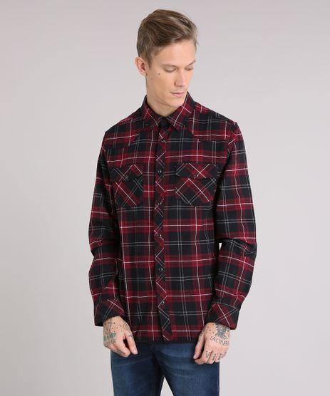 Camisa-Masculina-Xadrez-em-Flanela-com-Bolsos-Manga-Longa-Preta-8886476-Preto_1