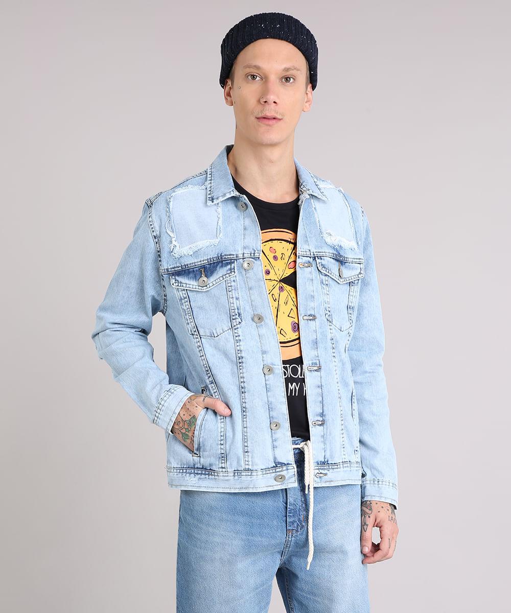 26e729b14f ... Jaqueta-Jeans-Masculina-Destroyed-Marmorizada-Azul-Claro-9108167-