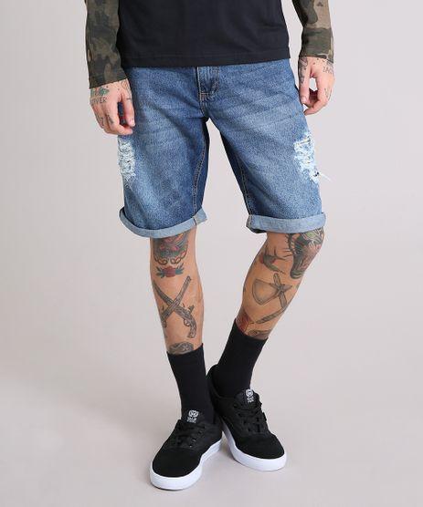 Bermuda-Jeans-Masculina-Reta-Destroyed-com-Bolsos-Azul-Escuro-9178525-Azul_Escuro_1
