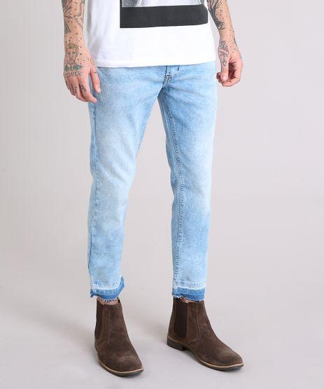 Calca-Jeans-Masculina-Skinny-Cropped-com-Barra-Desfeita-Azul-Claro-9185791-Azul_Claro_1