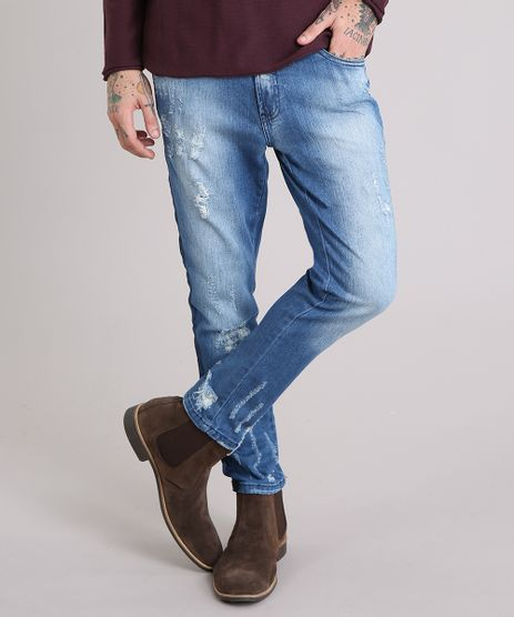 Calca-Jeans-Masculina-Skinny-Cropped-Destroyed-Azul-Medio-9107980-Azul_Medio_1