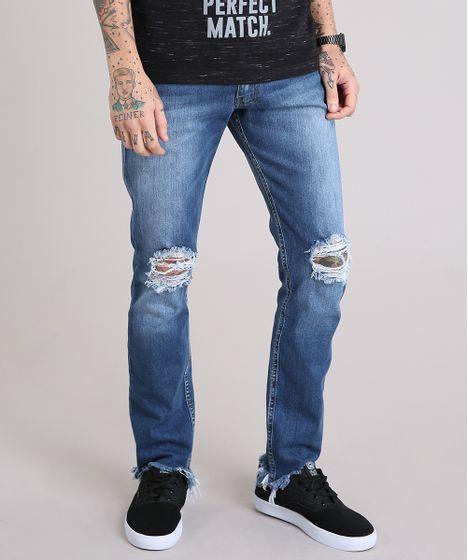 f0eea62d9 Calca-Jeans-Slim-Destroyed-com-Barra-Assimetrica-Desfiada- .