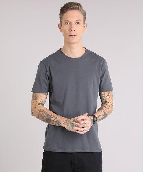 3f36eec239 Camiseta Masculina Básica Manga Curta Gola Careca Chumbo - cea