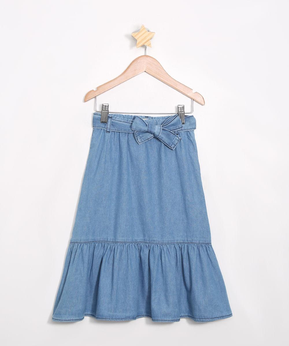 Saia Infantil Jeans Midi com Babado Azul Médio