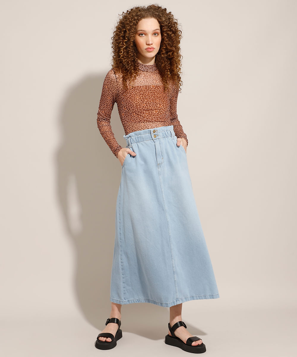 Saia Clochard Jeans Longa Azul Claro