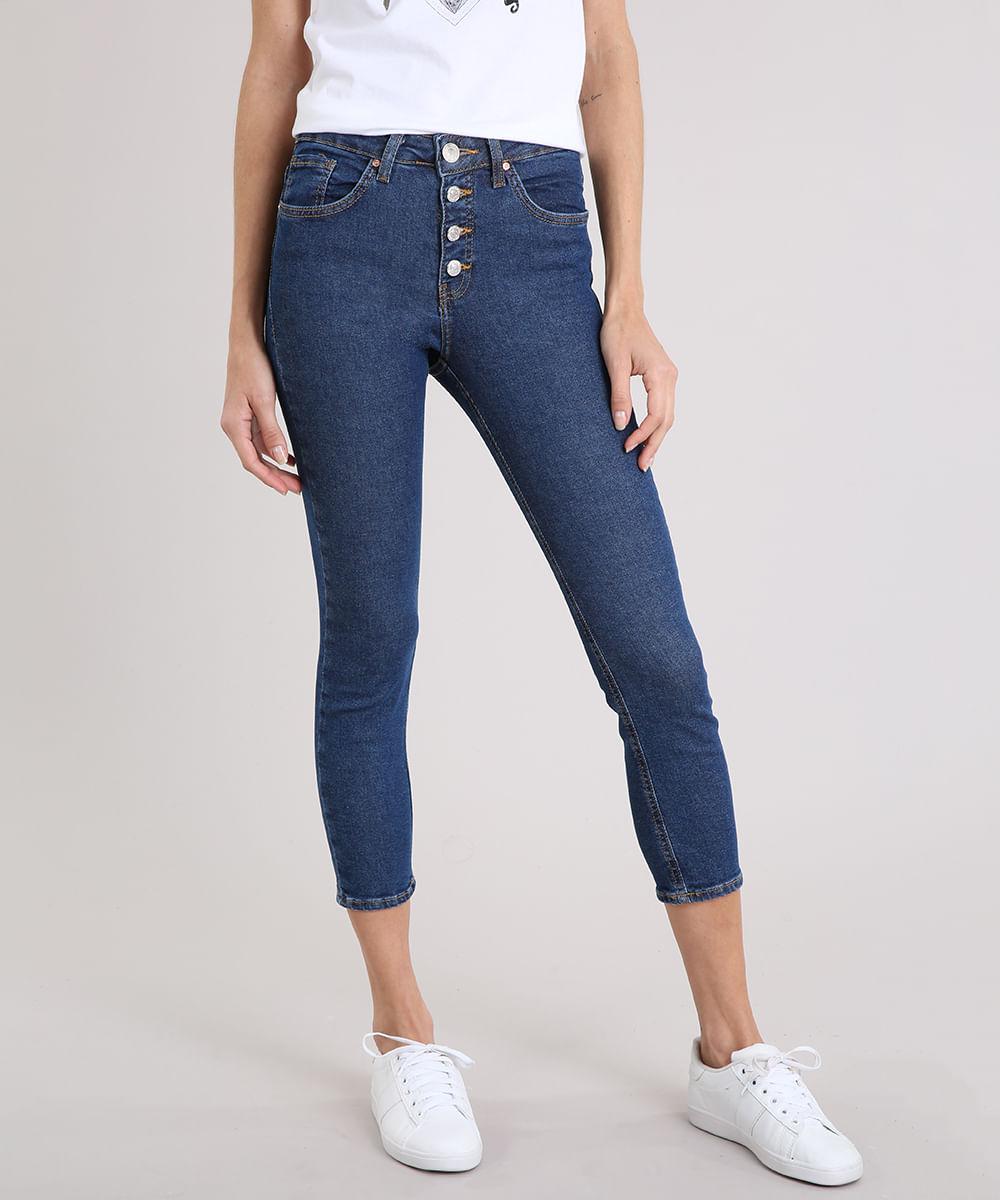 891b5aa78 Calça Jeans Feminina Skinny Cropped Cintura Alta Azul Escuro - cea