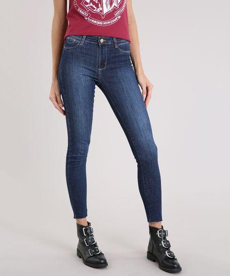 Calca-Feminina-Super-Skinny-Sawary-Push-Up-com-Barra-Desfiada-Azul-Escuro-9195863-Azul_Escuro_1