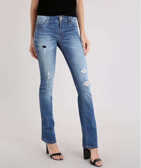 1910811fa9 Calça Jeans Feminina Flare Sawary Levanta Bumbum Destroyed Azul ...