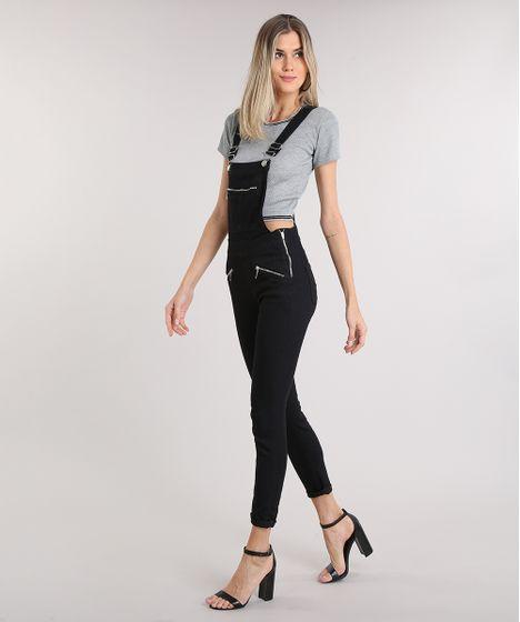 0cf5d5b9f Macacao-Jeans-Feminino-com-Bolsos-Preto-9209343-Preto 1 ...