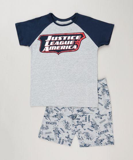 Pijama-Infantil--Liga-da-Justica--Manga-Curta-Cinza-Mescla-9133128-Cinza_Mescla_1