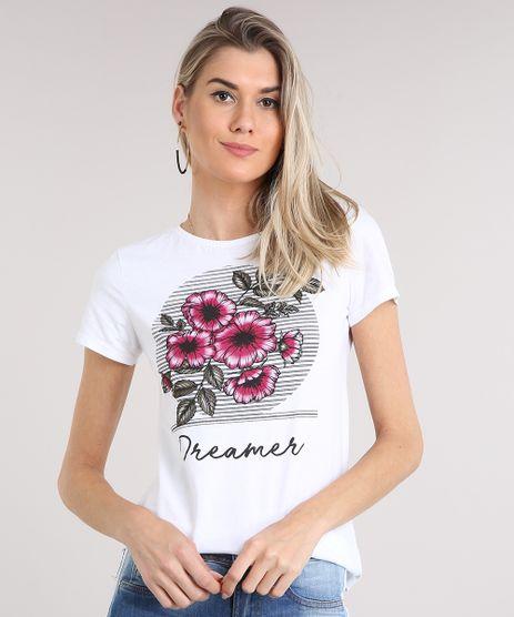 Blusa-Feminina-com-Estampa-de-Flores-Manga-Curta-Decote-Redondo-Off-White-9250288-Off_White_1