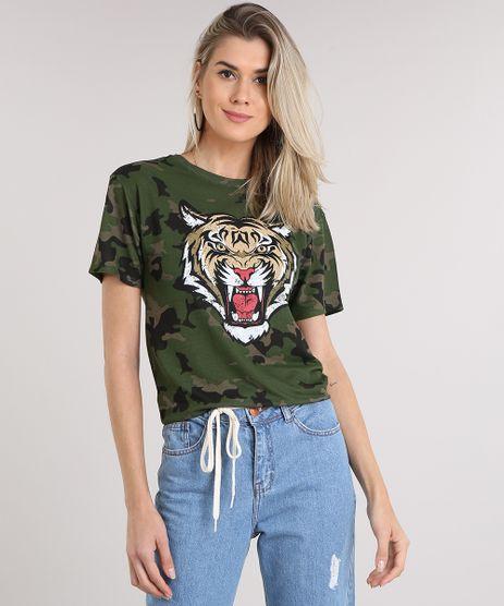 Blusa-Feminina-Longa-Tigre-Estampada-Camuflada-Manga-Curta-Decote-Redondo-Verde-Militar-8971715-Verde_Militar_1
