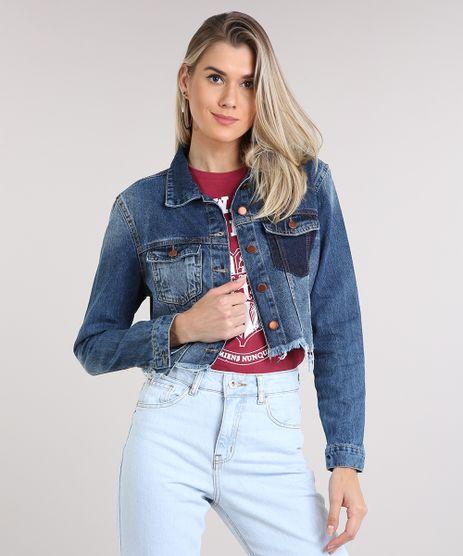 Jaqueta-Jeans-Feminina-Cropped-com-Bolso-Barra-Desfiada-Azul-Escuro-9217844-Azul_Escuro_1
