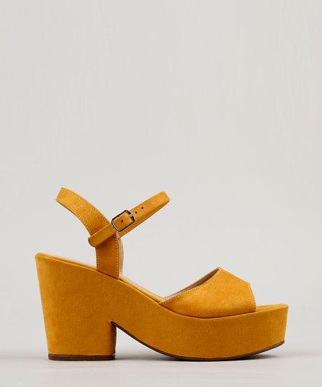 Sandalia-Feminina-Plataforma-em-Suede-Amarelo-9217073-Amarelo_1