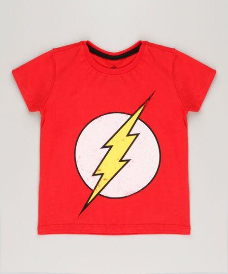 Camiseta-Infantil-The-Flash-Manga-Curta-Gola-Careca-em-Algodao---Sustentavel-Vermelha-9224669-Vermelho_1