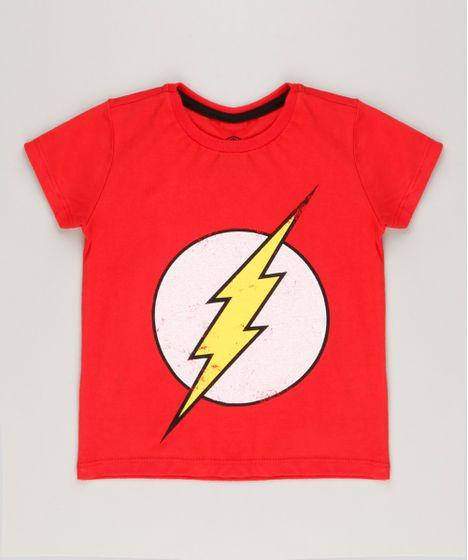 2fbc5e505 Camiseta Infantil The Flash Manga Curta Gola Careca Vermelha - cea