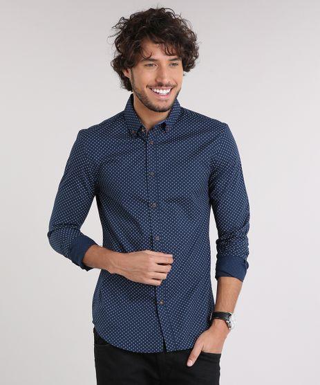 Camisa-Masculina-Slim-Estampada-Mini-Print-Manga-Longa-Azul-Marinho-9167870-Azul_Marinho_1