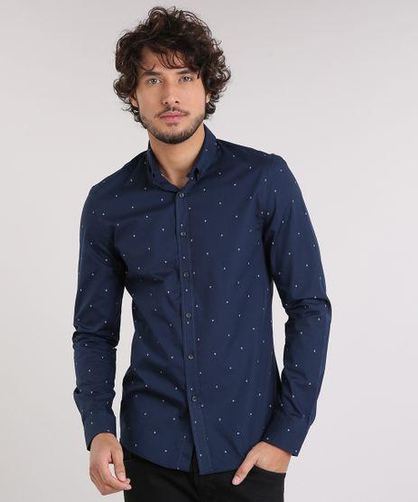 Camisa-Masculina-Slim-Estampada-Mini-Print-de-Ancora-Manga-Longa-Azul-Marinho-9167871-Azul_Marinho_1