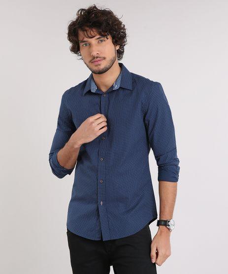 Camisa-Masculina-Slim-Estampada-Mini-Print-de-Poas-Manga-Longa-Azul-Marinho-9167872-Azul_Marinho_1