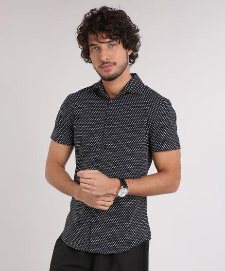Camisa-Masculina-Slim-Estampada-Mini-Print-Manga-Curta-Preto-9050302-Preto_1