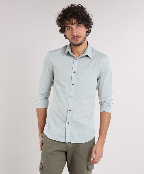 Camisa-Masculina-Slim-com-Bolso-Manga-Longa-Verde-Claro-9049896-Verde_Claro_1