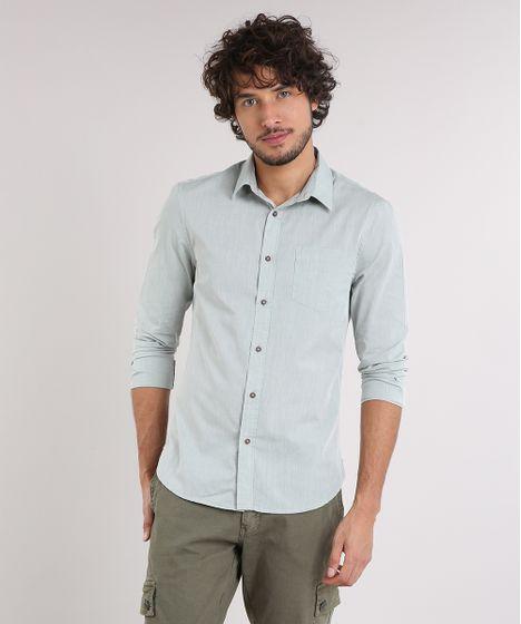 e71e232a0 Camisa Masculina Slim com Bolso Manga Longa Verde Claro - cea