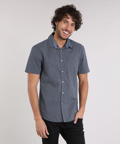Camisa-Masculina-Comfort-Estampada-Mini-Print-com-Bolso-Manga-Curta-Azul-Marinho-9049898-Azul_Marinho_1