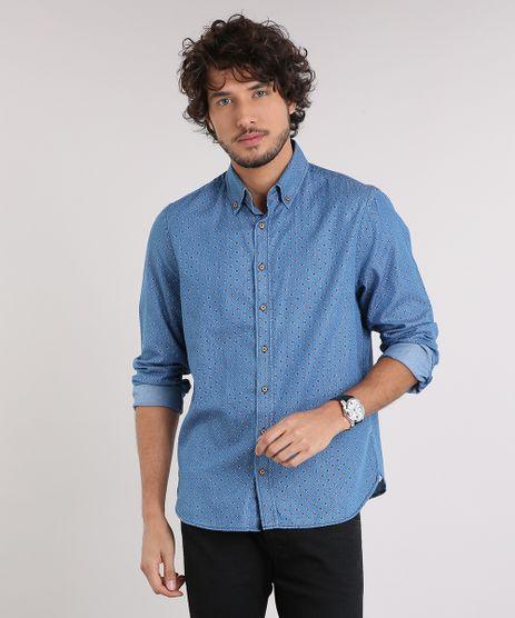 Camisa-Jeans-Masculina-Comfort-Estampada-Mini-Print-Manga-Longa-Azul-Medio-9049892-Azul_Medio_1