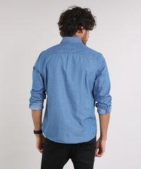 8b3b74c841 Camisa Jeans Masculina Comfort Estampada Mini Print Manga Longa Azul ...