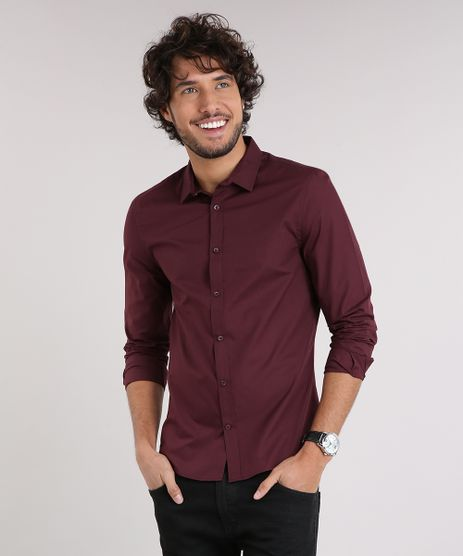 Camisa-Masculina-Slim-Manga-Longa-Vinho-7967961-Vinho_1
