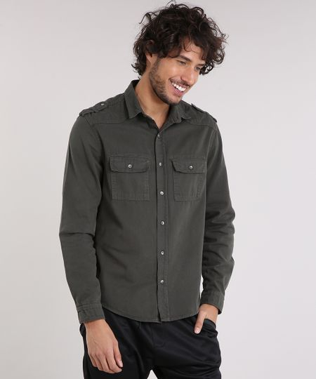 1419c297a0 Menor preço em Camisa Masculina com Bolsos Manga Longa Verde Militar