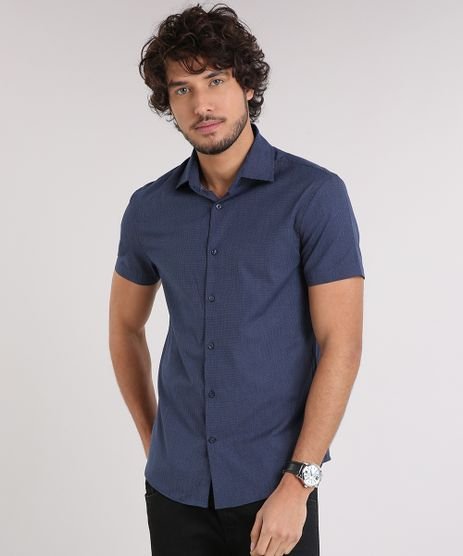 Camisa-Masculina-Slim-Maquinetada-Manga-Curta-Azul-Marinho-9050303-Azul_Marinho_1